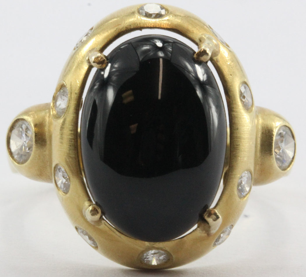 18K Gold Brushed Finish Black Onyx & Diamond Ring - Queen May