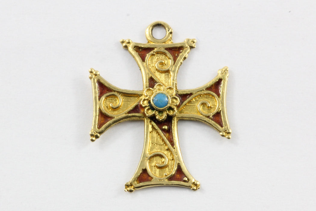 Vintage 18k gold maltese enamel turquoise cross pendant queen may vintage 18k gold maltese enamel turquoise cross pendant aloadofball Image collections