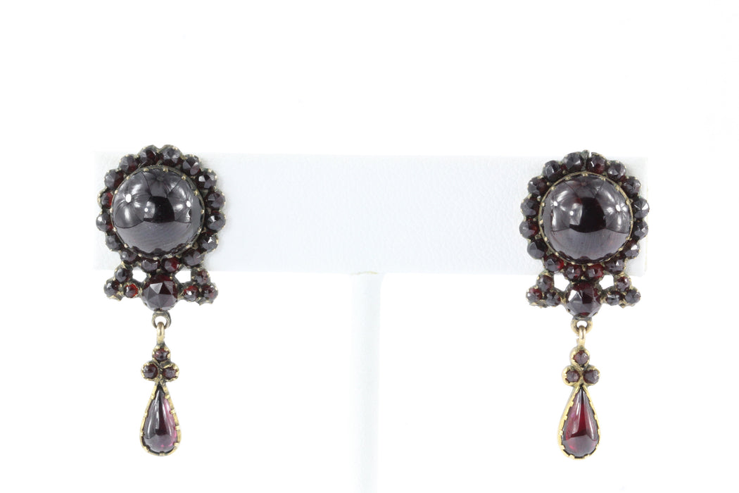 Antique 800 Silver & 8K Gold Bohemian Garnet Earrings - Queen May