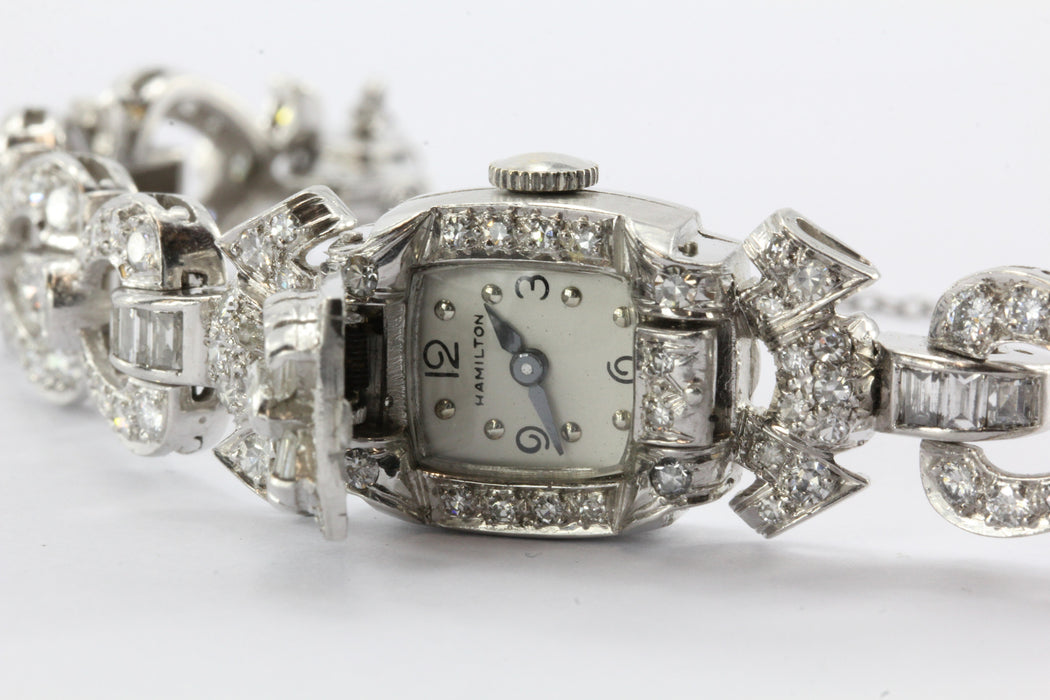 5 Carats of Diamonds on a Platinum Art Deco Hamilton 1940's Cocktail Watch - Queen May