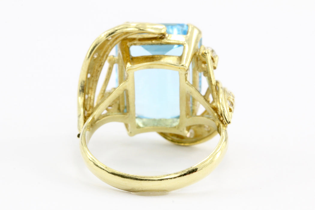 18K Yellow Gold 9 Carat Blue Topaz and Diamond Ring - Queen May