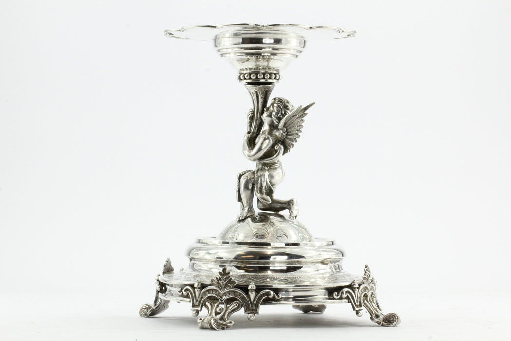Antique Austrian Imperial 800 Silver Figural Cupid Cherub Angel Tazza Compote - Queen May