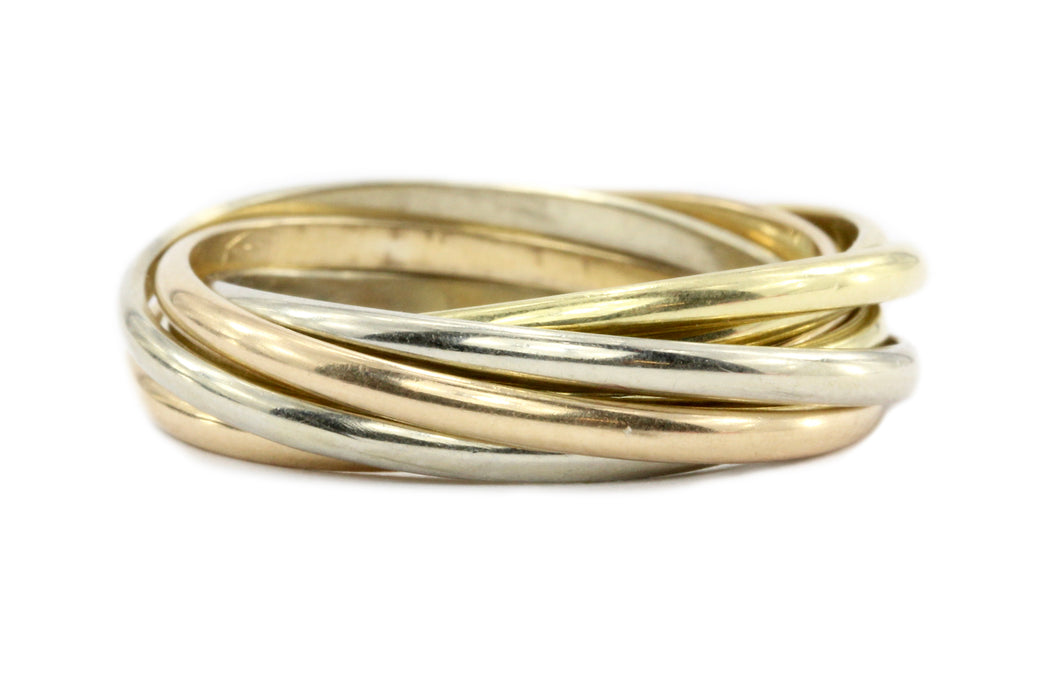 15ad106d1fdaa Cartier 18K Tri-Colored Trinity Ring Band