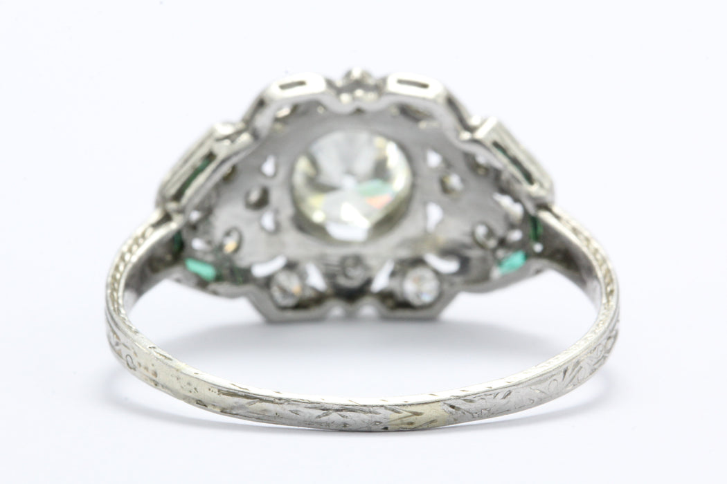 Art Deco Platinum Diamond and French Cut Emerald Ring c.1920 - Queen May