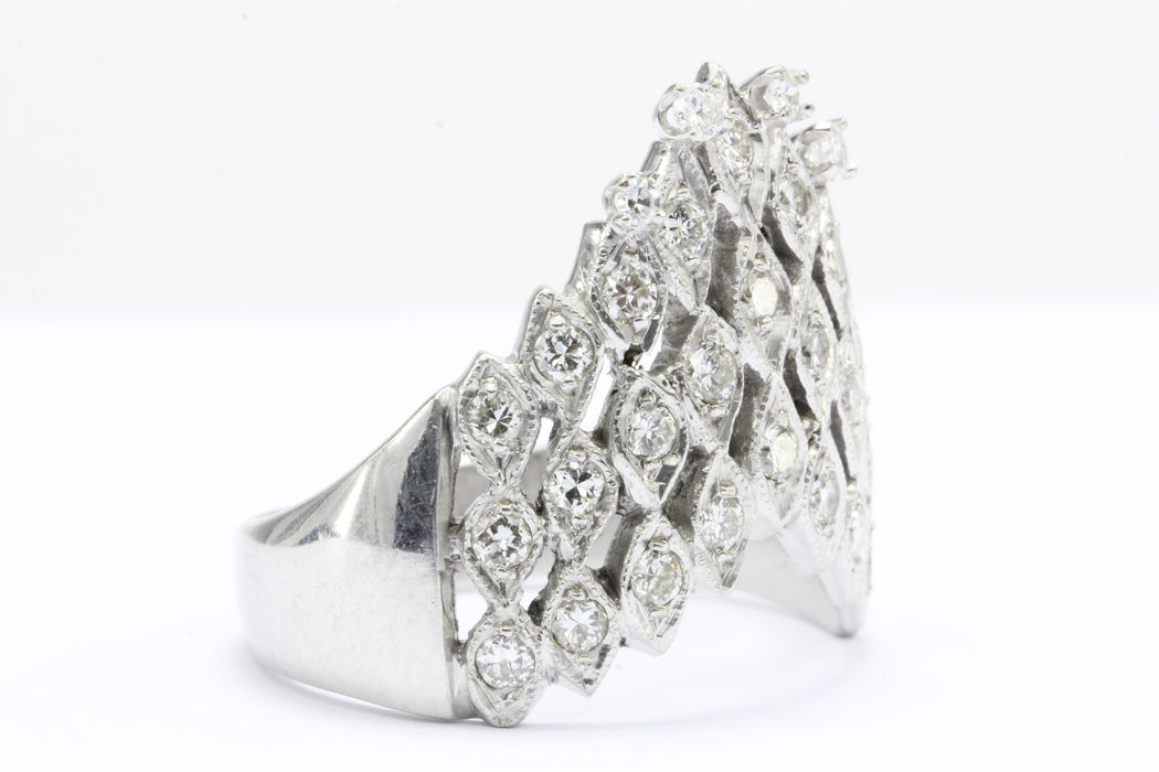 Art Deco 14K White Gold 1 CTW Diamond Waterfall Ring Circa 1930