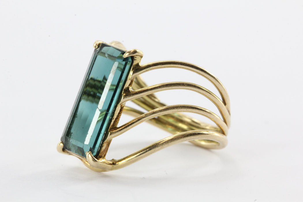 14K Gold 3 Carat Indicolite Blue Tourmaline Ring - Queen May