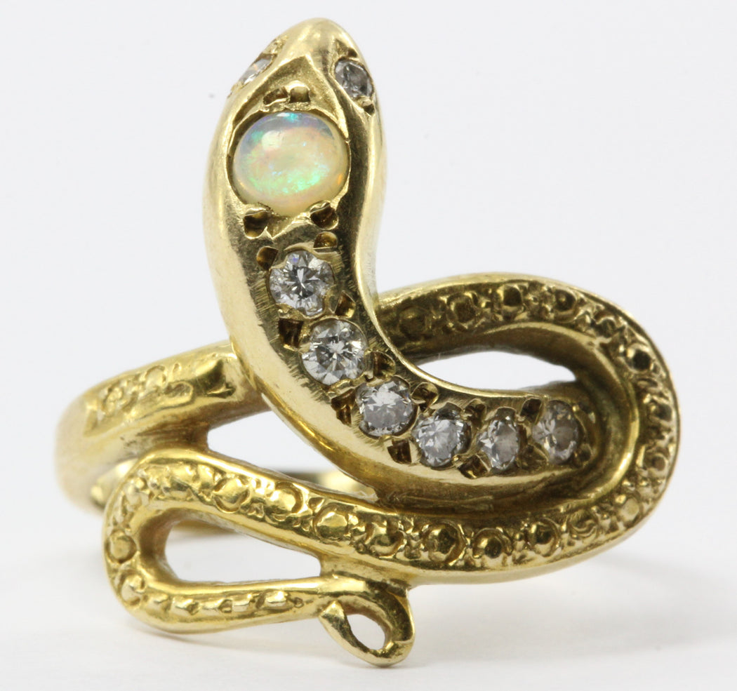 Victorian Style 14K Gold Diamond & Opal Snake Estate Ring - Queen May