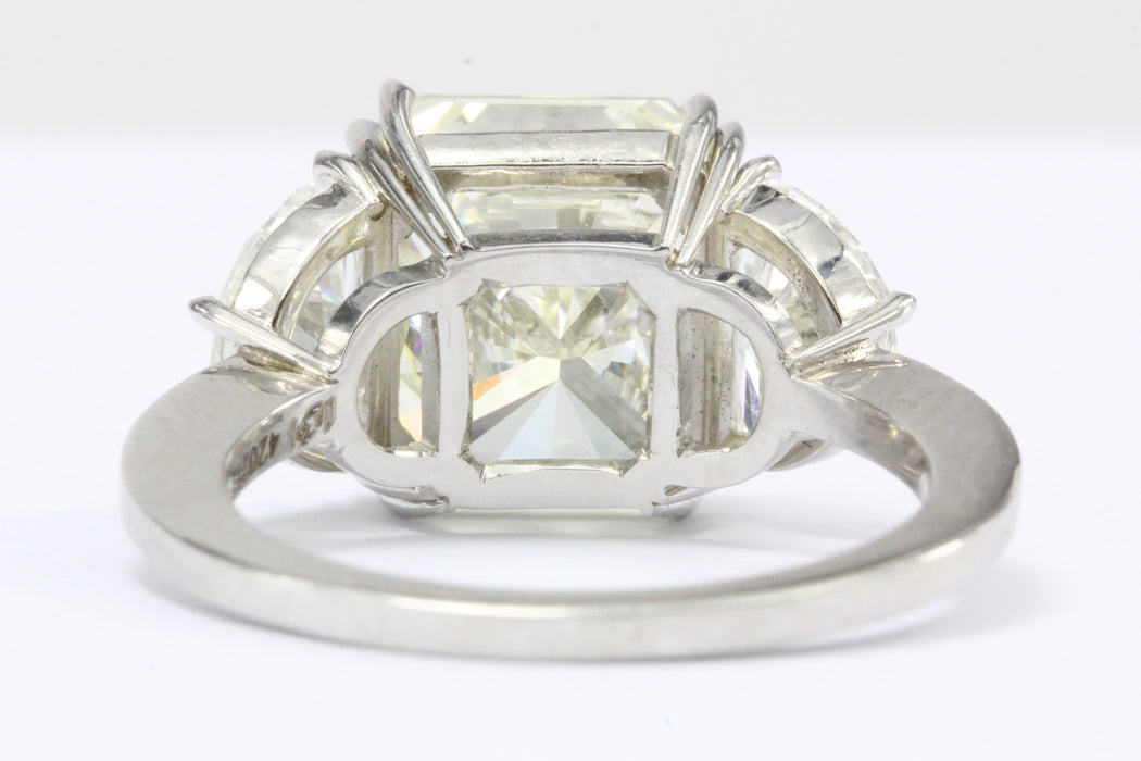 6.35 Carat Radiant Diamond in Platinum Mounting w/ 2 Half Moons Engagement Ring - Queen May