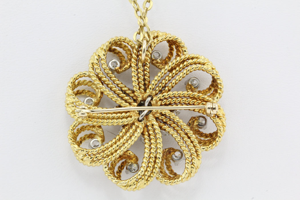 Retro 18K Gold Diamond Flower Swirl Pendant Necklace - Queen May