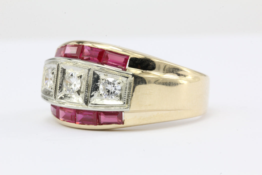 Retro 14K Gold Diamond & Ruby Mens Ring c.1950's - Queen May