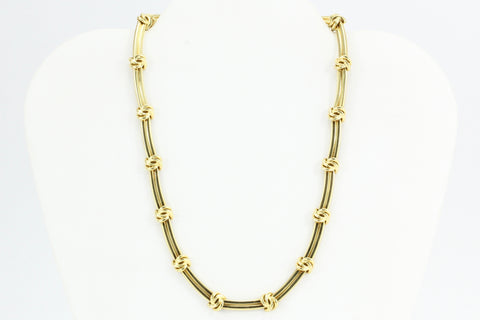 Tiffany & Co 18k Gold Love Knot Groove Link Necklace 15.5""