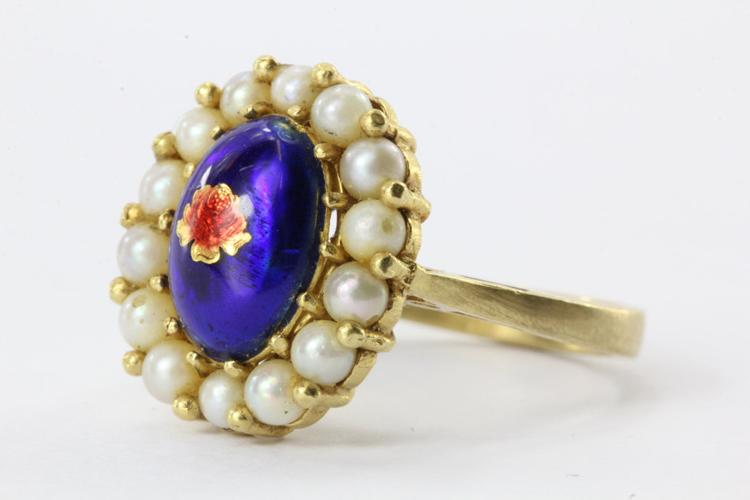 Vintage Italy 18K Yellow Gold Blue Enamel Gold Foil Rose & Pearl Halo Ring - Queen May