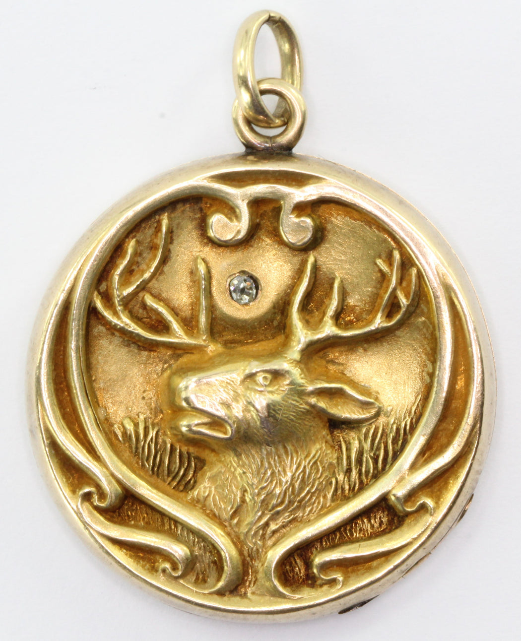 Antique Art Nouveau 10k Gold Repousse Diamond Stag Buck Locket Pendant - Queen May