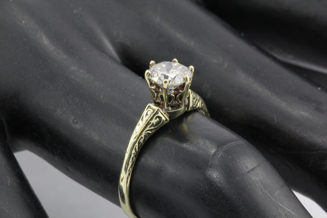 Victorian 14K Gold Old European Cut Diamond Engagement Ring c.1890 - Queen May