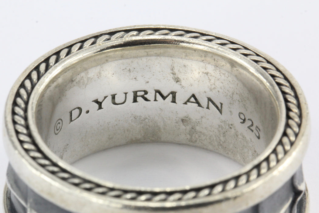 David Yurman Sterling Silver Armory Mens Ring Band Size 10 - Queen May