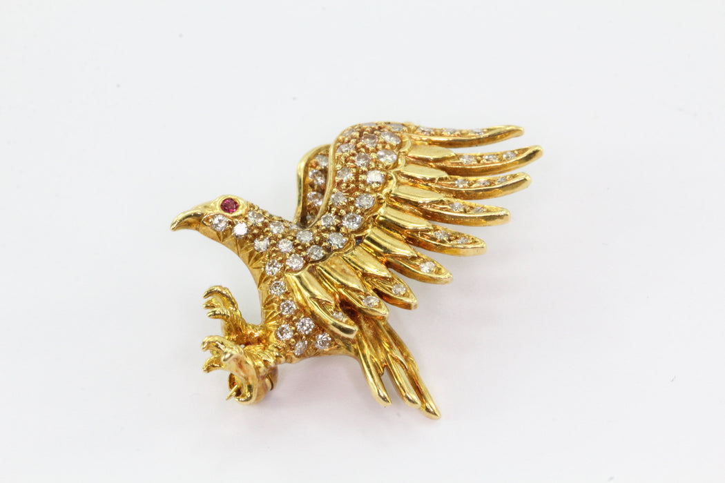 18K Yellow Gold Diamond & Ruby Flying Eagle Brooch Pin - Queen May