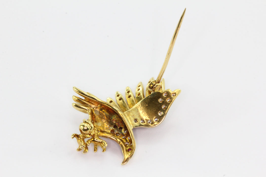 18K Yellow Gold Diamond & Ruby Flying Eagle Brooch Pin