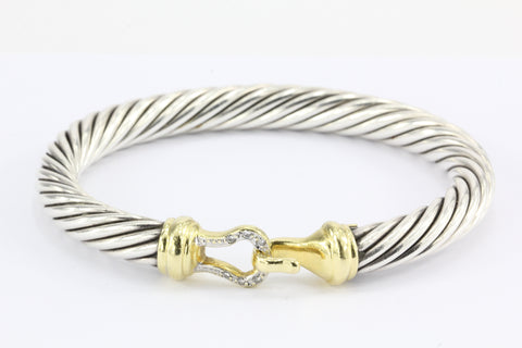 David Yurman Sterling Silver 18k Gold Diamond Buckle Cable Bangle Bracelet