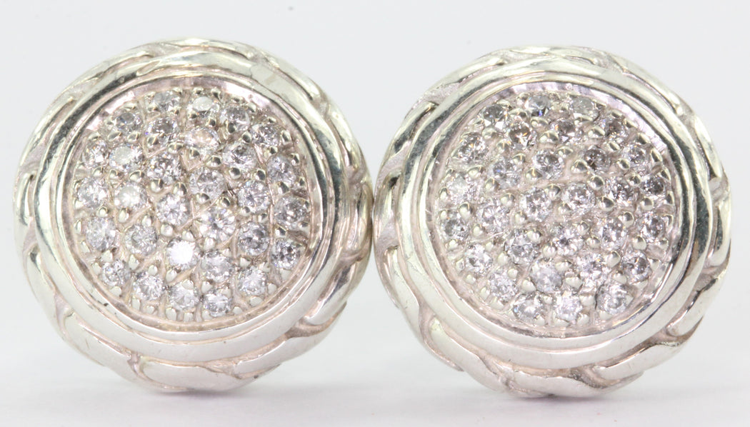 John Hardy Sterling Silver 18K Pave Diamond Classic Chain Stud Earrings - Queen May