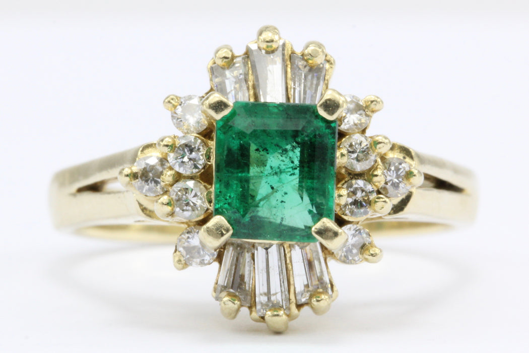 18K Yellow Gold .75 Carat Emerald & Diamond Ring - Queen May