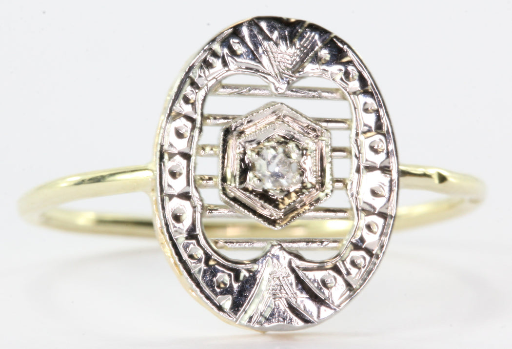 Antique 14K Gold & Platinum Diamond Conversion Ring - Queen May