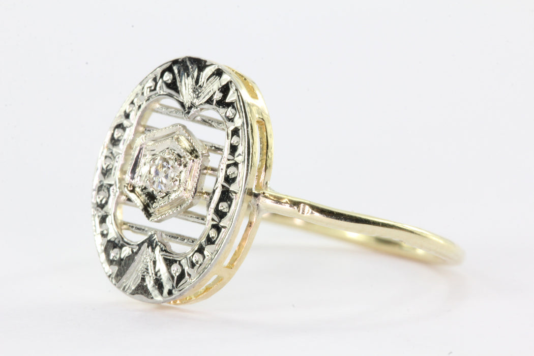 Antique 14K Gold & Platinum Diamond Conversion Ring