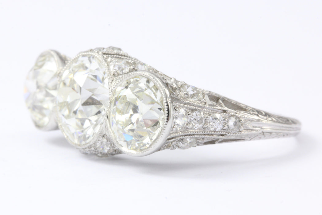 Art Deco Platinum & 5.1 Carat Old European Cut Diamond Hutchison & Huestis Engagement Ring - Queen May