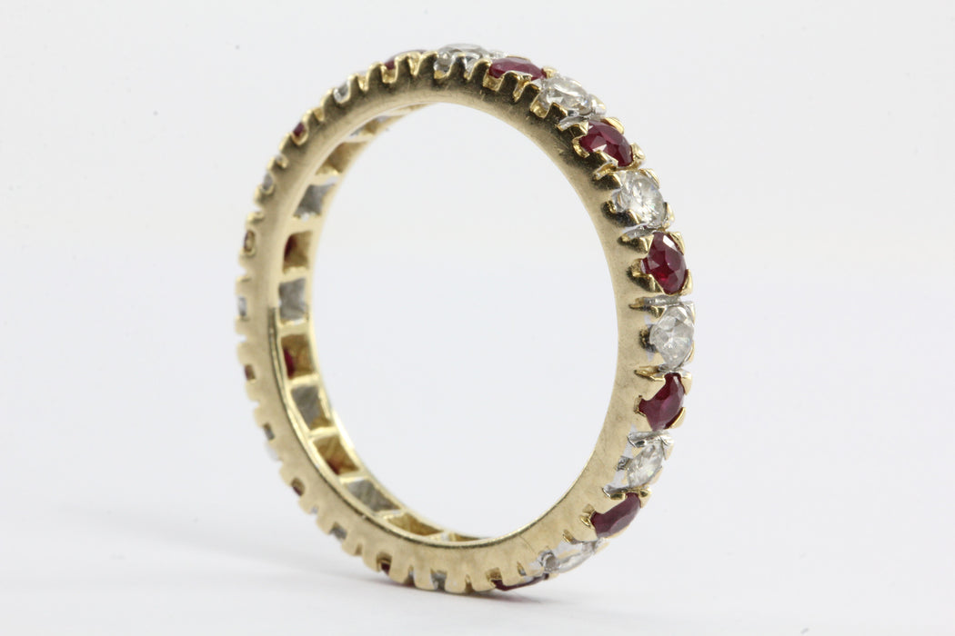Antique 14K Gold Diamond & Ruby Eternity Band Ring - Queen May