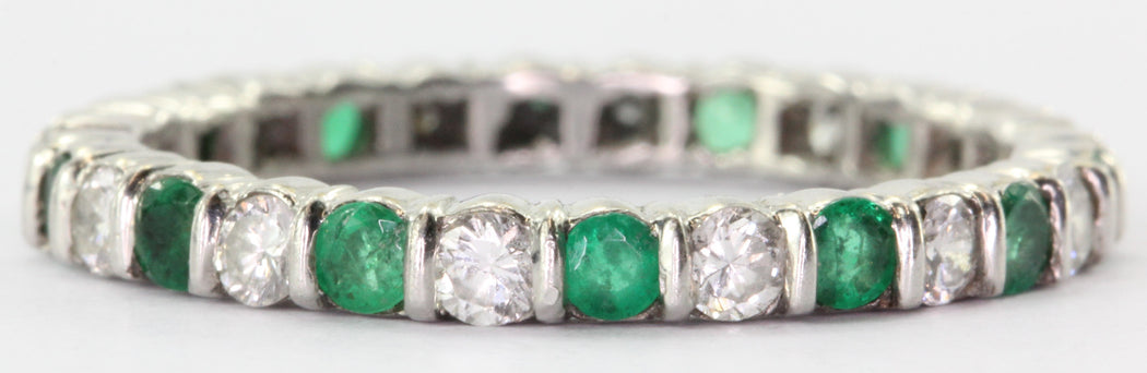 Antique Platinum Diamond & Emerald Eternity Band Ring - Queen May