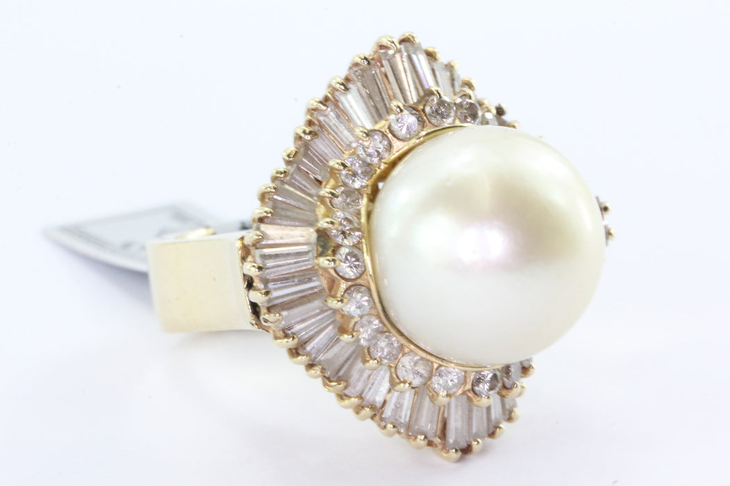 14K Gold Chunky 14mm Round Cream Rose Pearl Diamond Halo Ring