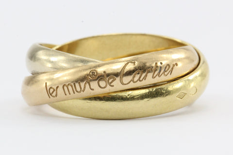 Cartier Must de 18K Gold Trinity Ring Band Size 6