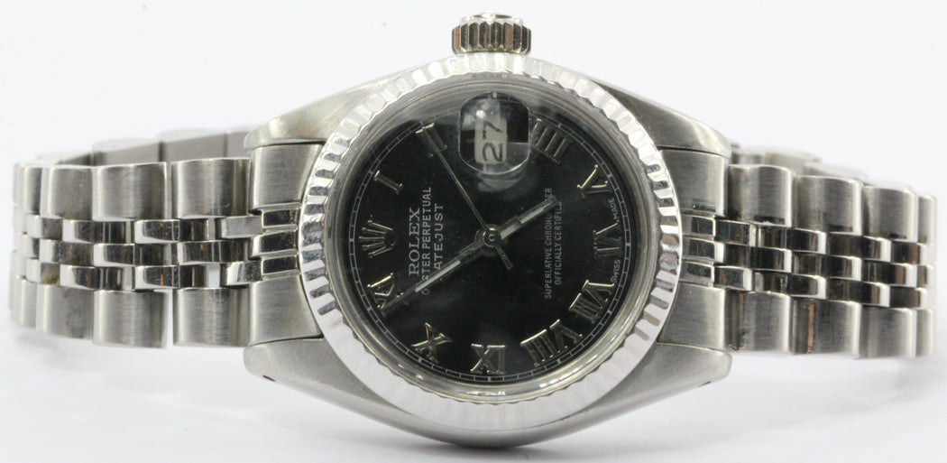 Ladies Rolex Oyster Perpetual Datejust Steel 6917 Model Watch Black Dial - Queen May