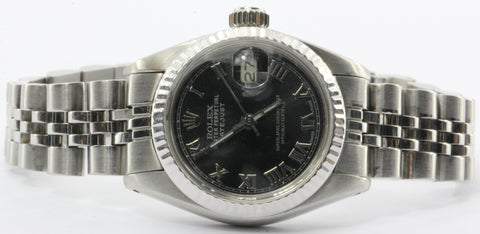 Ladies Rolex Oyster Perpetual Datejust Steel 6917 Model Watch Black Dial