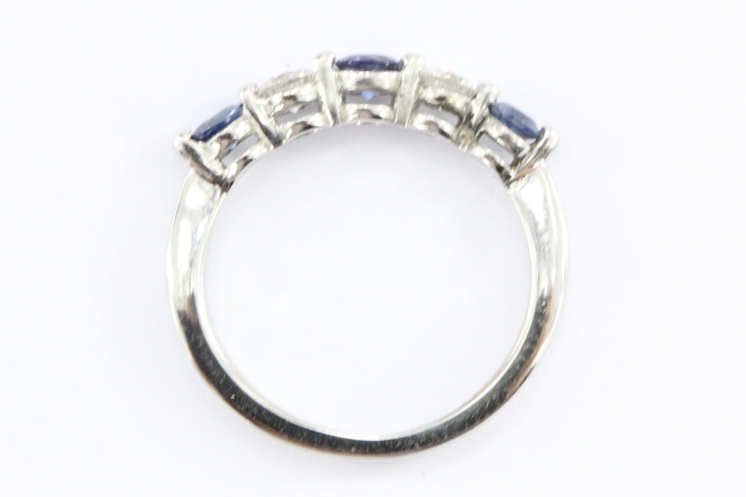 14K White Gold Diamond & Blue Sapphire Ring - Queen May