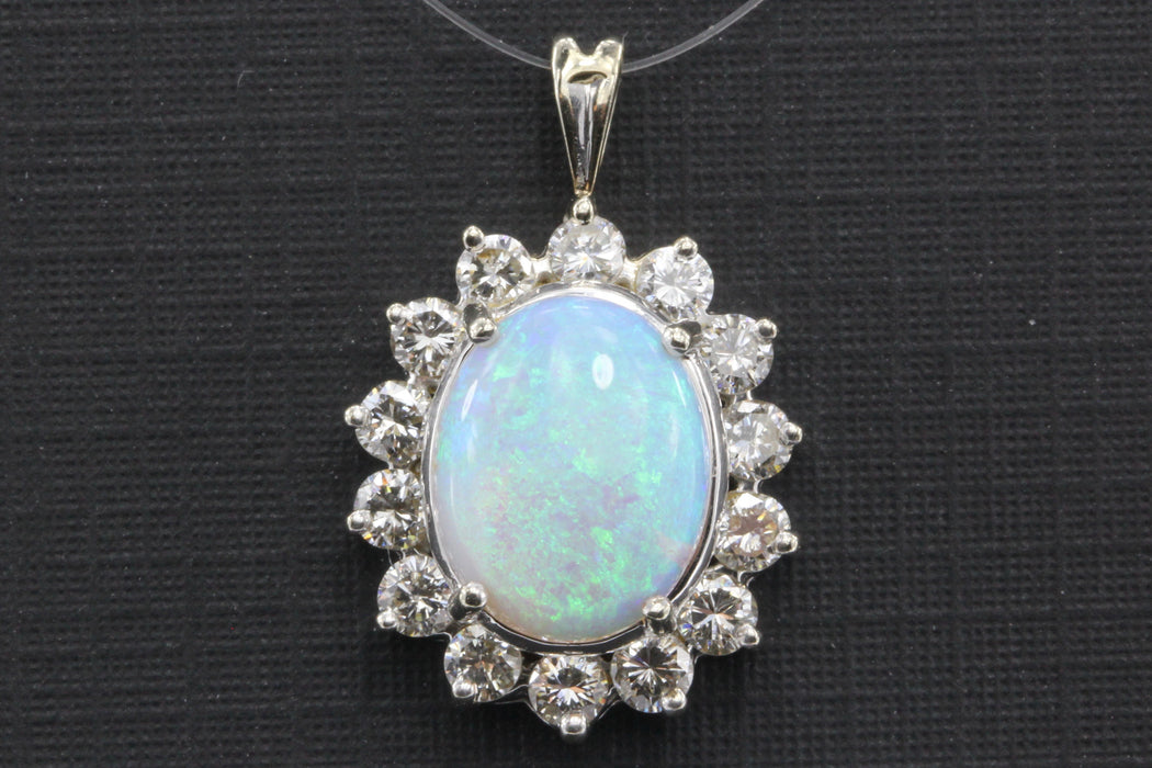 14K White Gold Fire Opal & Diamond Pendant - Queen May