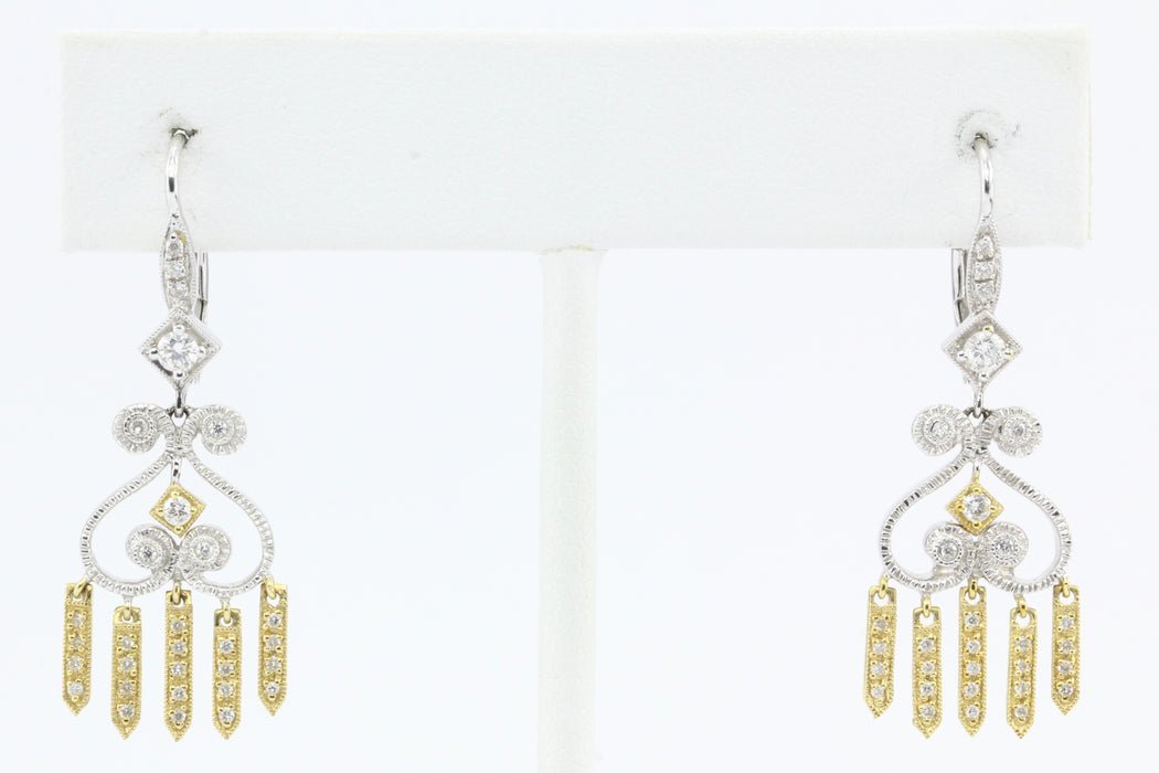 18K White & Yellow Gold Diamond Chandelier Earrings