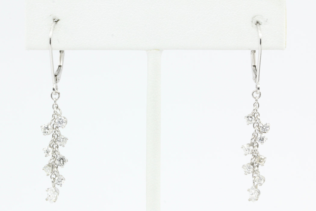 14k White Gold Diamond Drop Cluster Earrings 1 CTW - Queen May