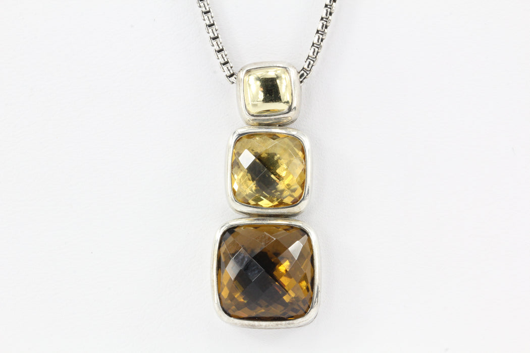 David Yurman Sterling Silver 18K Gold Citrine Smoky Quartz Pendant Necklace - Queen May