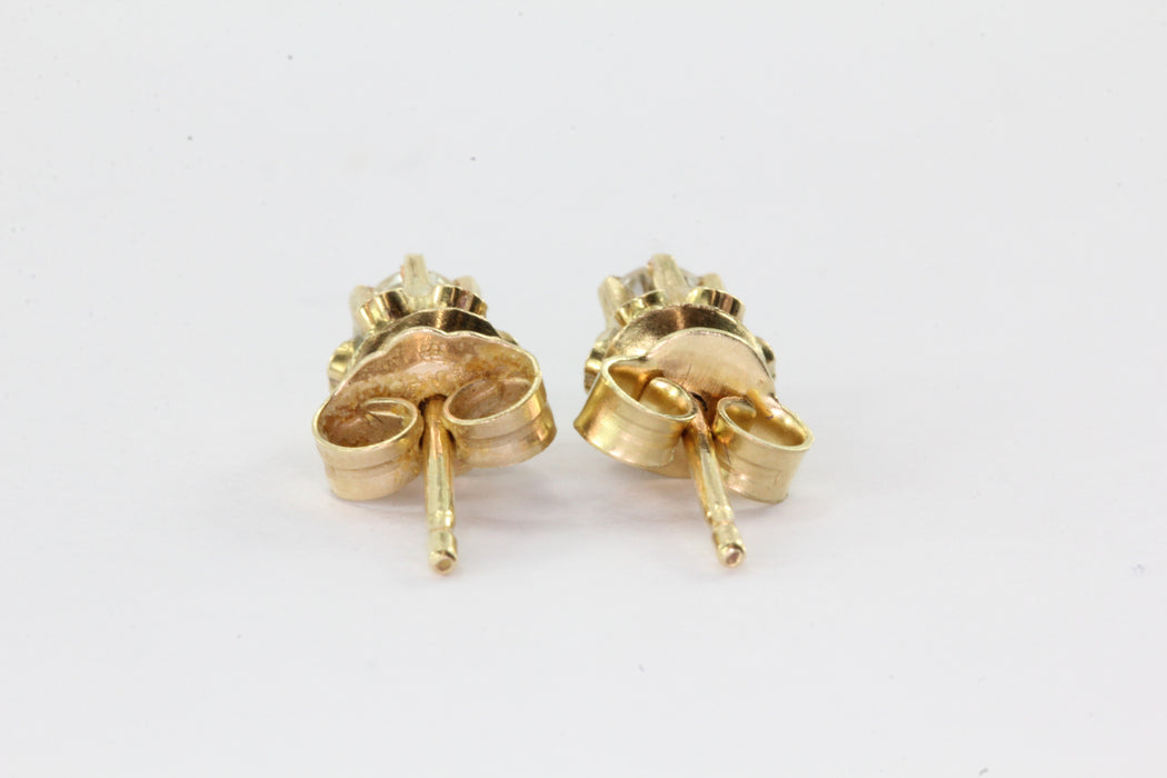 Vintage 14K Gold Belcher Mounted .20 CTW Diamond Earring Studs - Queen May