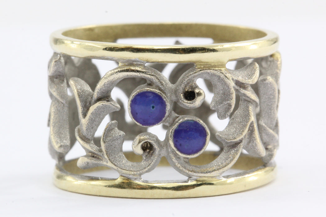 18k White & Yellow Gold Blue Enamel Pierced Scrolling Vine Ring Band - Queen May
