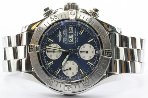 Breitling SuperOcean Chronograph Day Date 42mm Blue Dial Automatic Mens Watch