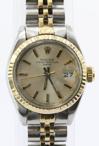 Rolex 14K Gold Steel 6917 Ladies Oyster Perpetual Date Watch