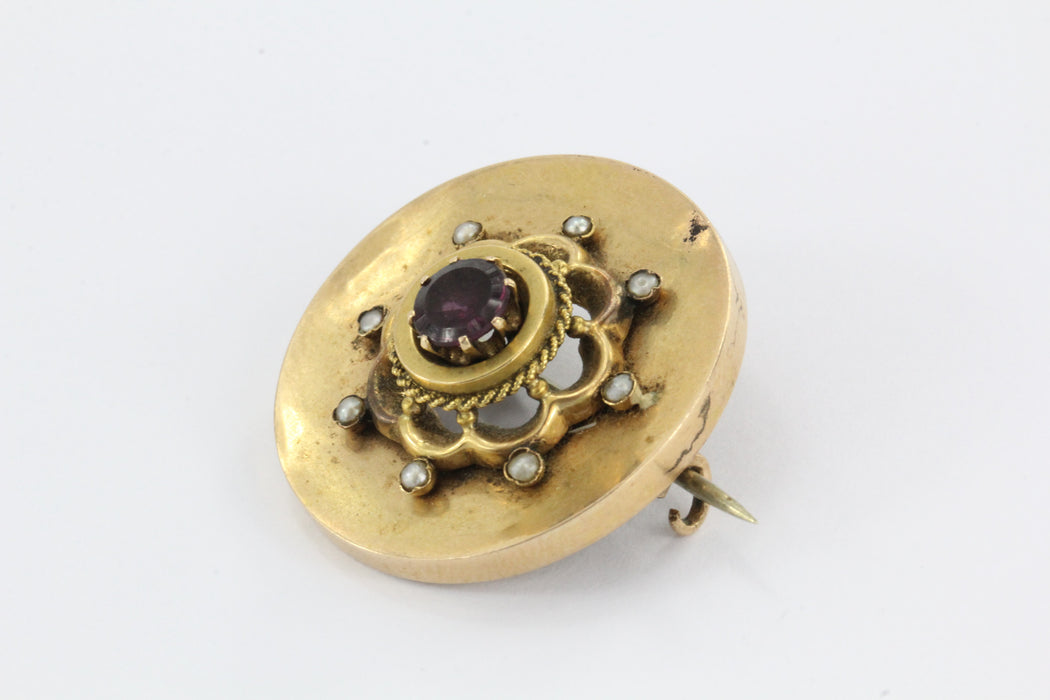 Antique Victorian 14K Gold Purple Garnet & Seed Pearl Brooch - Queen May