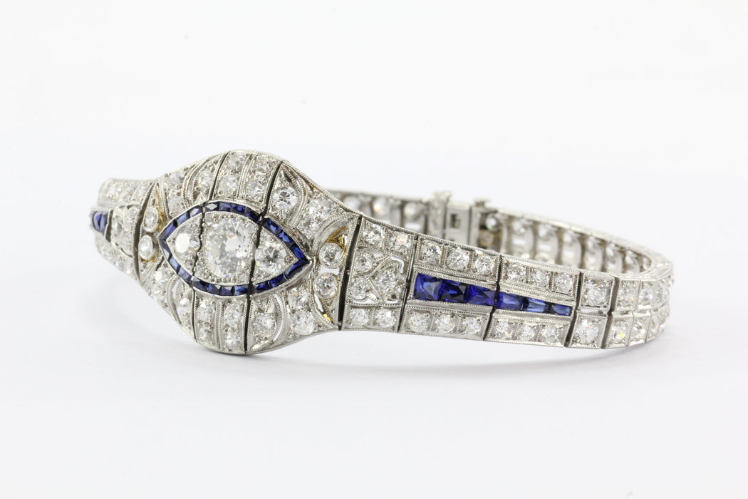 Antique Art Deco Platinum Tennis Bracelet w/ 10 Carats of Diamonds & Sapphires