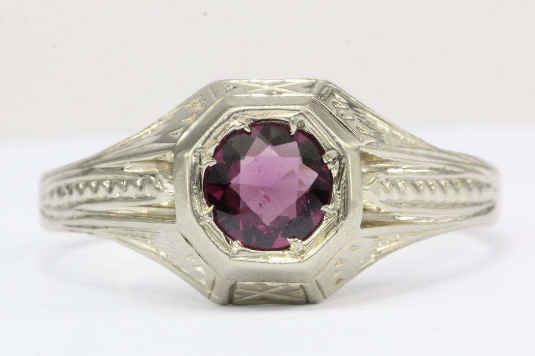 Art Deco 18K White Gold Pink Tourmaline Mens Ring c.1920's - Queen May