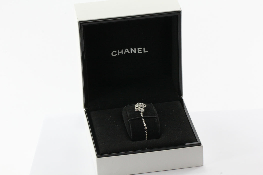 New CHANEL Camelia Brode 18K White Gold & Diamond Bracelet in Box - Queen May