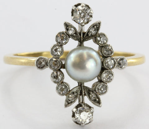 Antique English Edwardian 18K Gold & Platinum Top Diamond & Pearl Ring