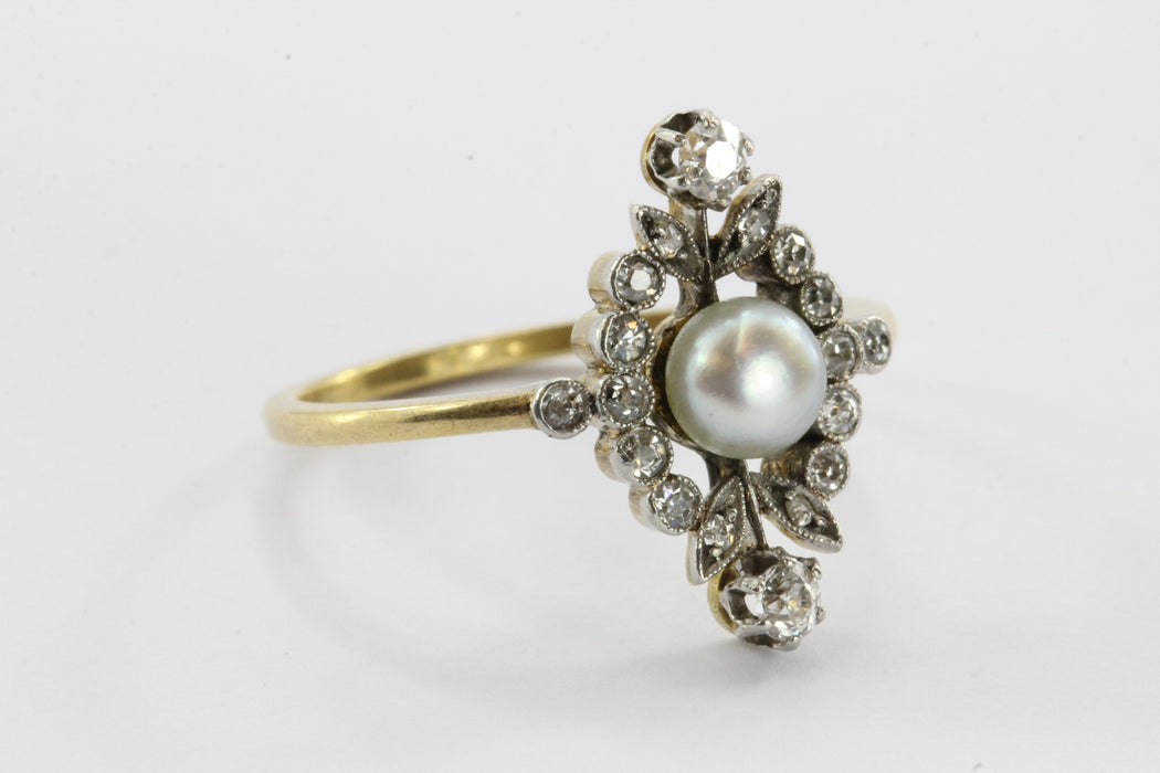 Antique English Edwardian 18K Gold & Platinum Top Diamond & Pearl Ring - Queen May