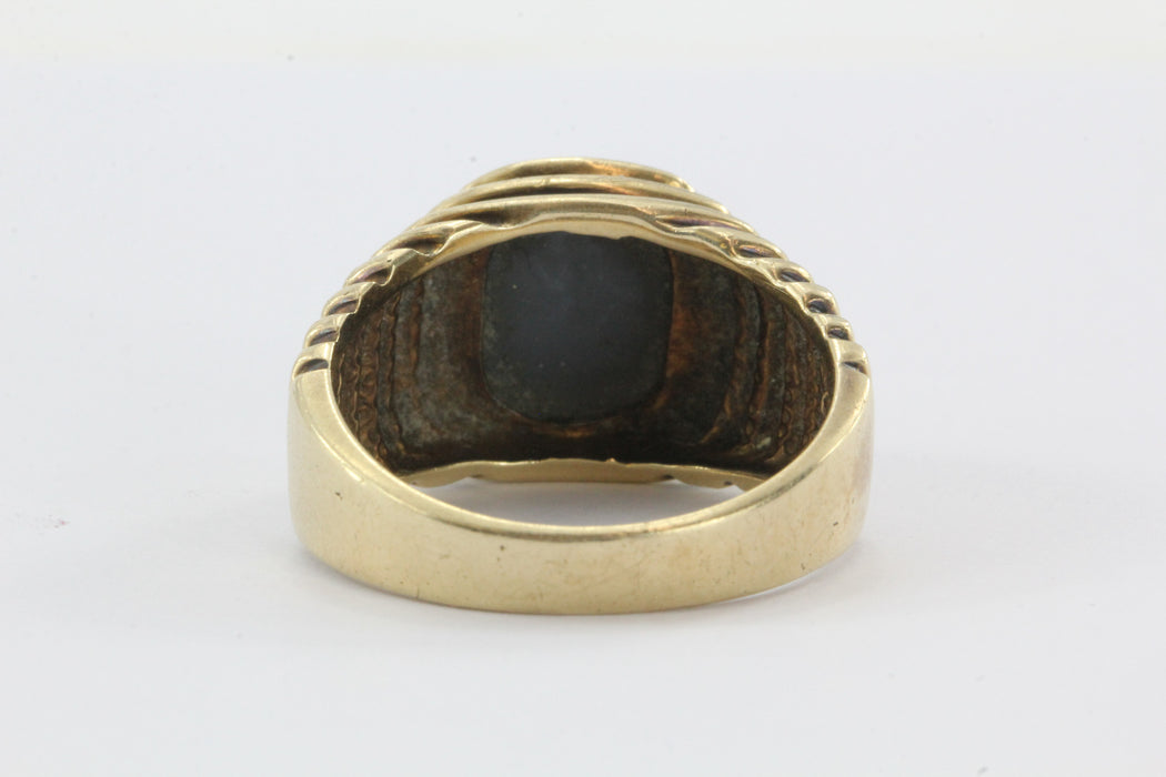 Vintage Art Deco 14K Gold Grey Star Sapphire Mens Ring - Queen May