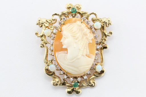 Victorian Revival 14K Gold Cameo Opals, Emerald & Diamond Set Pendant / Brooch c.1930's